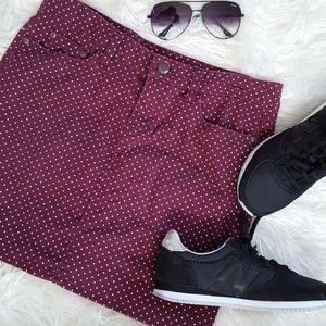 H&M Polka dot maroon skirt size 8